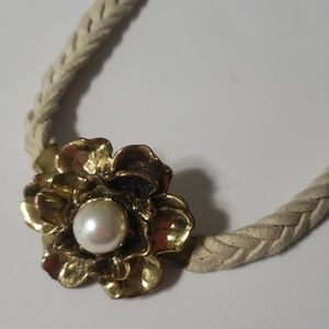 《Vintage》Flower Braided Necklace Bronze Magnetic